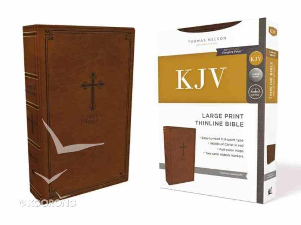 KJV Thinline Bible Large Print Brown (Red Letter Edition) Premium Imitation Leather