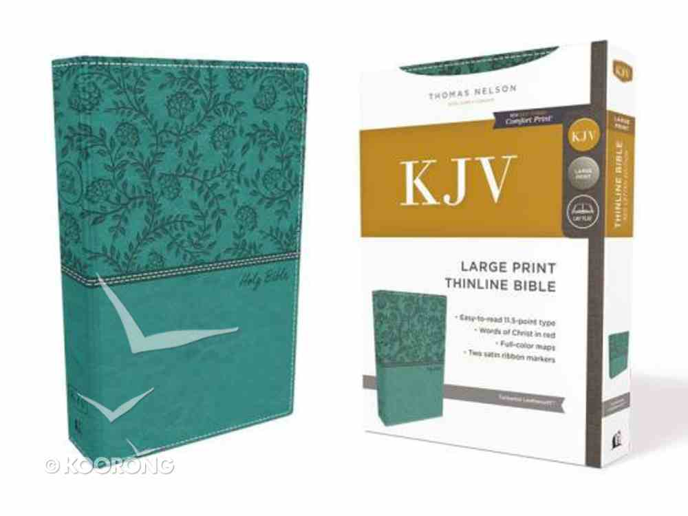 KJV Thinline Bible Large Print Green (Red Letter Edition) Premium Imitation Leather