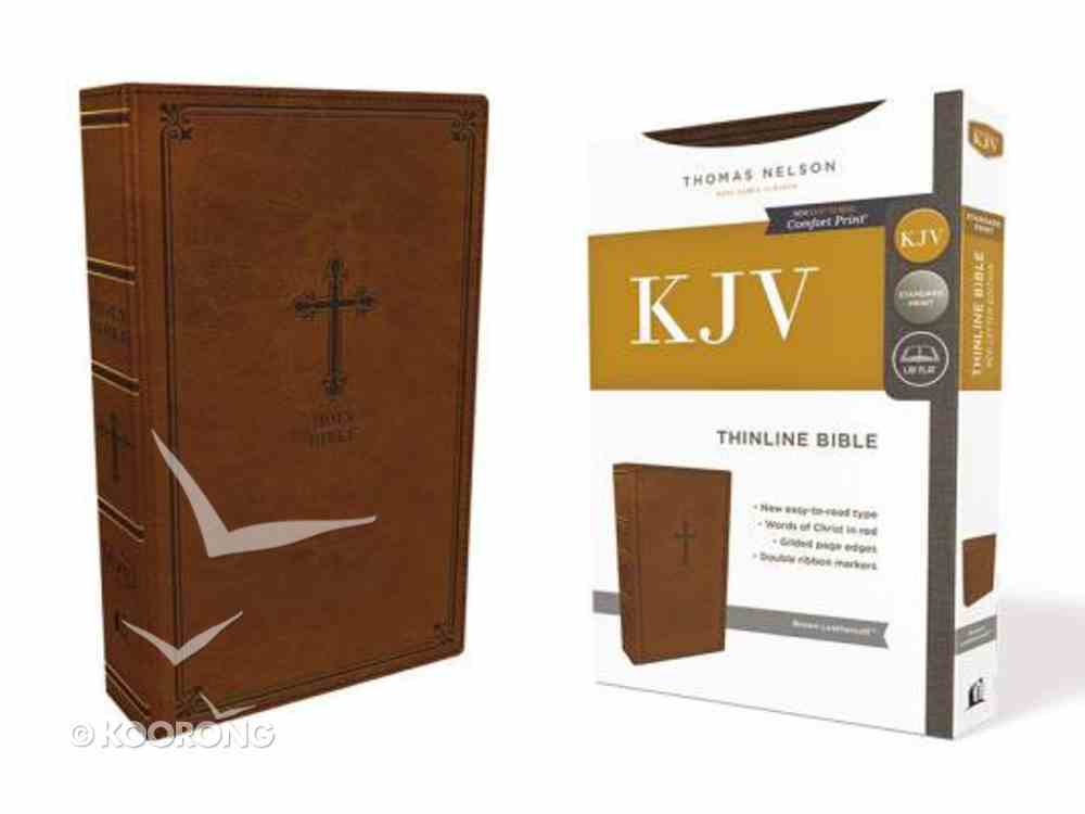 KJV Thinline Bible Brown (Red Letter Edition) Premium Imitation Leather