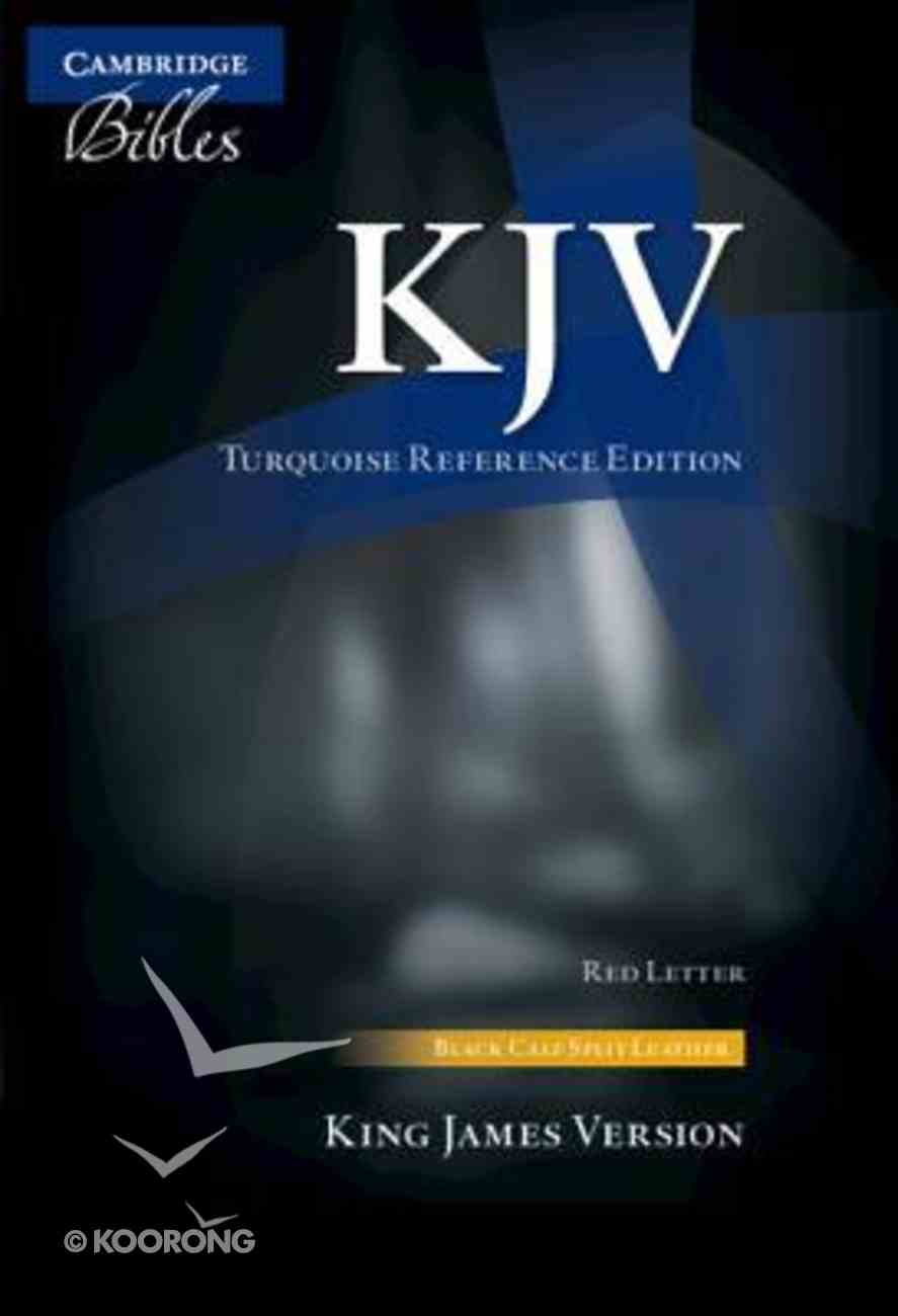 KJV Turquoise Reference Bible Black (Red Letter Edition) Genuine Leather