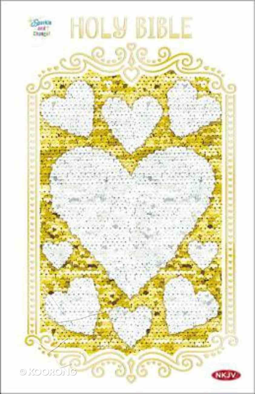 NKJV Sequin Sparkle and Change Bible Silver and Gold Hardback