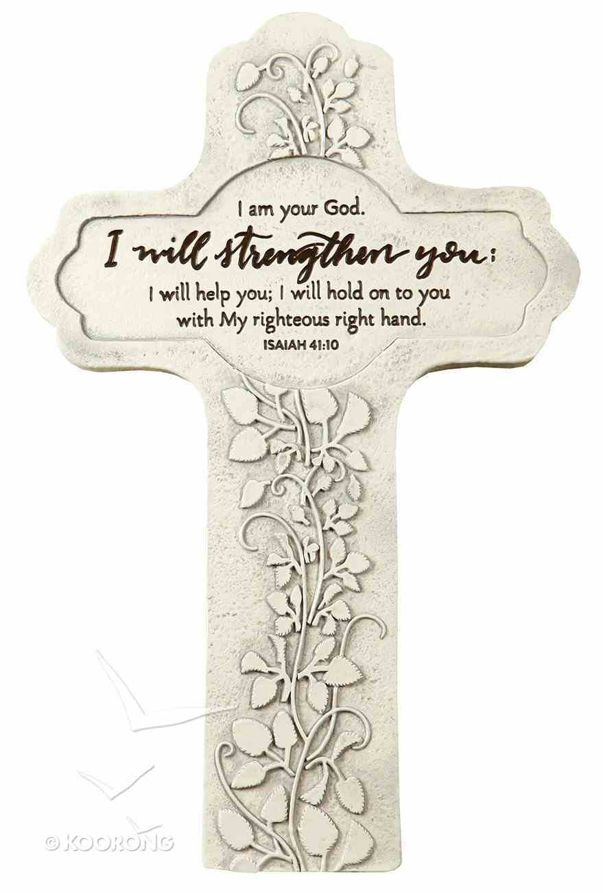 Cast Stone Cross: I Will Strengthen You, Vine Etching (Isaiah 41:10) Homeware