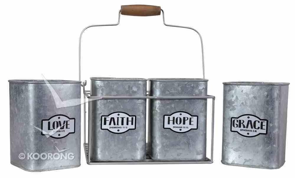Metal Caddy: Faith, Hope, Love, Grace, Silver Metal Homeware