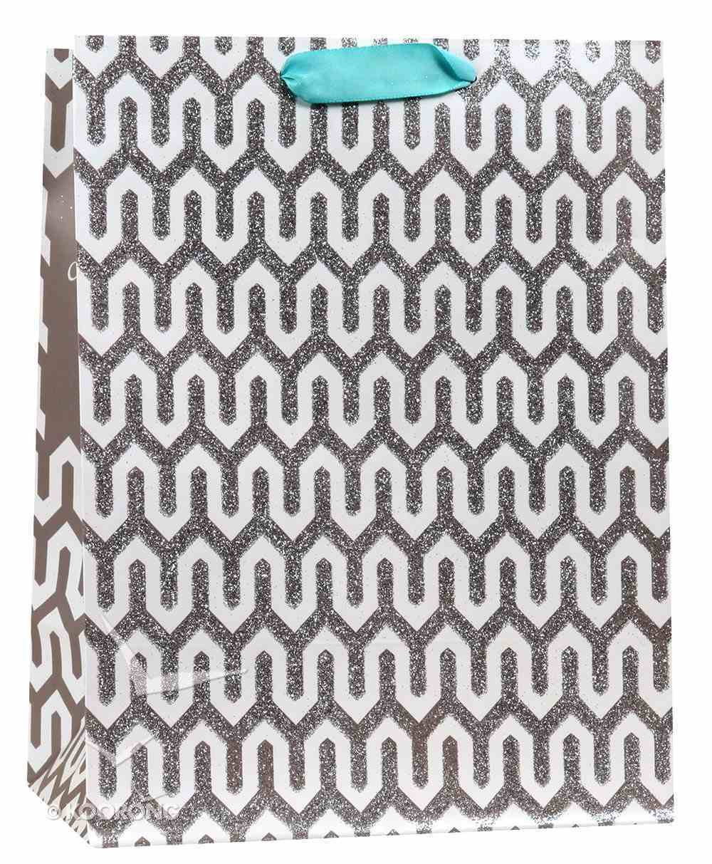 Gift Bag Medium: Gray Pattern - the Lord Has Done Great Things..... (Psalm 126:3) Stationery