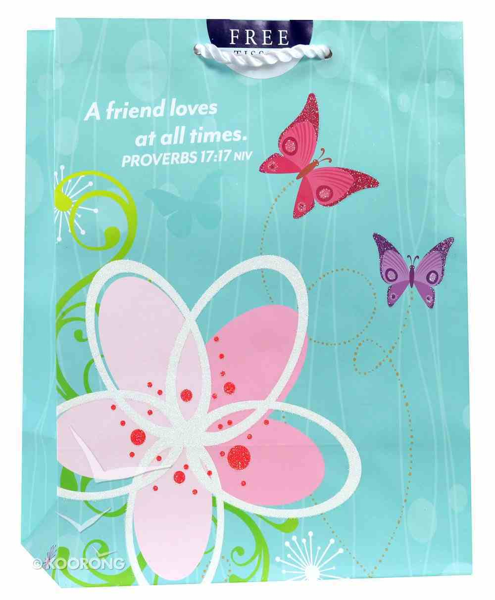 Gift Bag Medium: A Friend Loves At All Times, Flower/Butterfly (Proverbs 17:17 Niv) Stationery