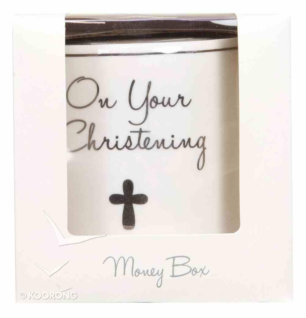 Ceramic Christening Money Box, White/Silver Homeware