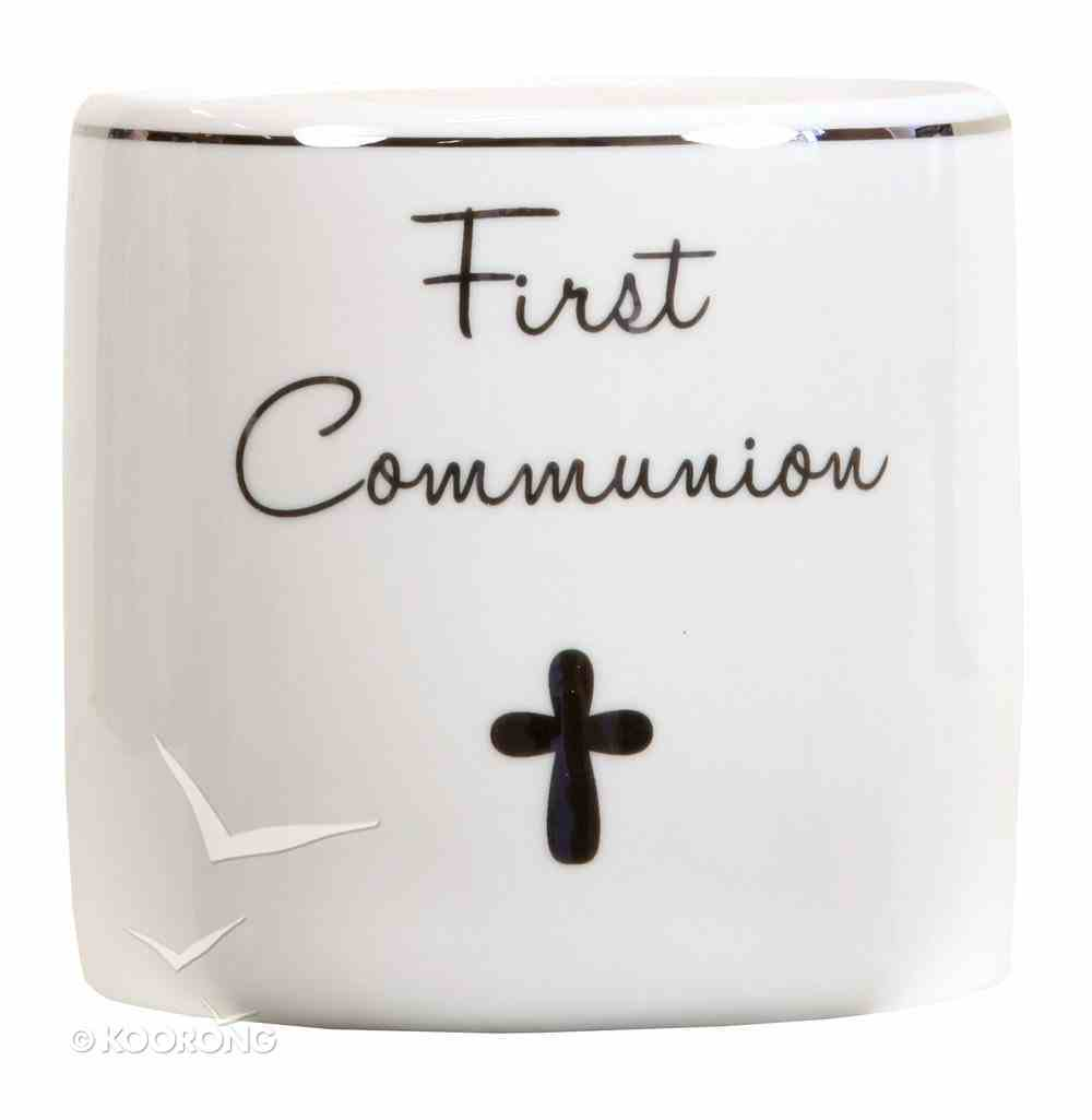 Ceramic First Communion Money Box, White/Silver Homeware