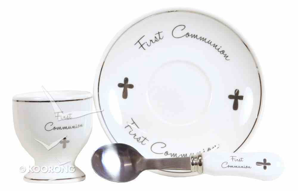 Ceramic First Communion Egg & Cup Set, White/Silver Homeware