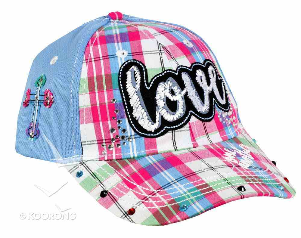 Cap: Love One Another, Blue/Patchwork Pattern (John 13:34) Soft Goods