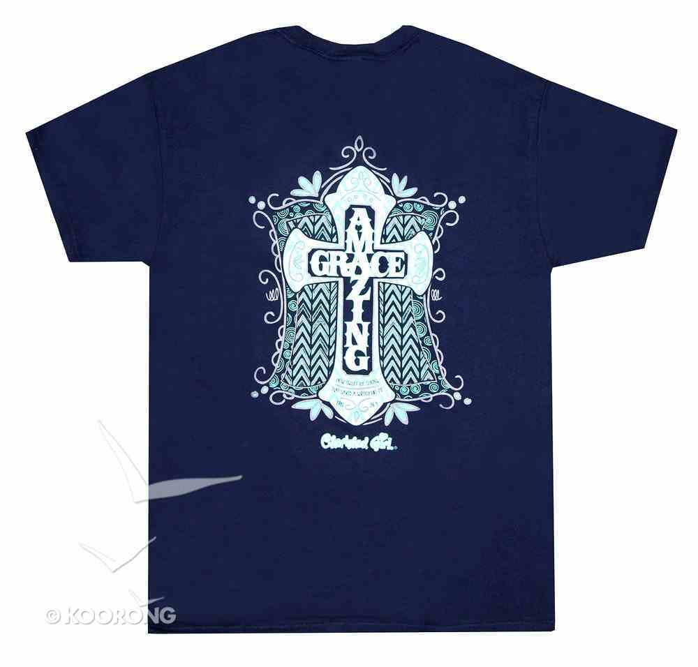 Cherished Girl Women's T-Shirt: Amazing Grace Medium Navy Blue/Light Blue Cross (Eph 2:8-9) Soft Goods