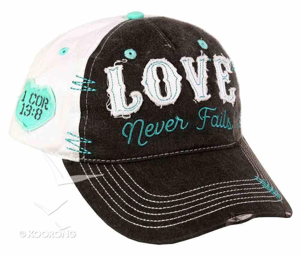 Cap: Love Never Fails, Blue/Beige (1 Cor 13:8) Soft Goods