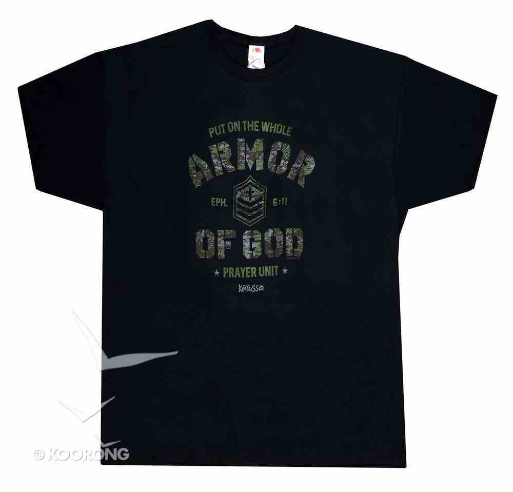 Men's T-Shirt: Armor of God Camo Small Black (Eph 6:11) Soft Goods