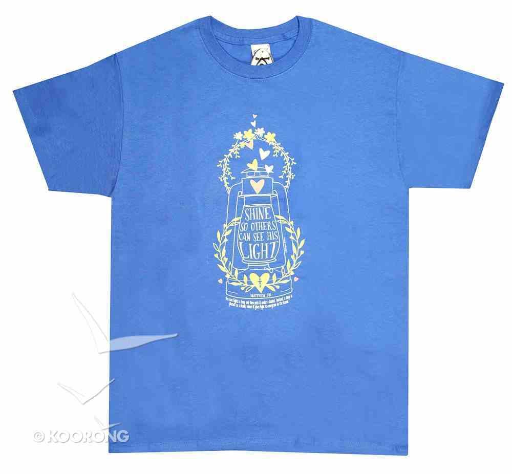 Women's T-Shirt: Shine His Light Large Blue (Matthew 5:15) Soft Goods