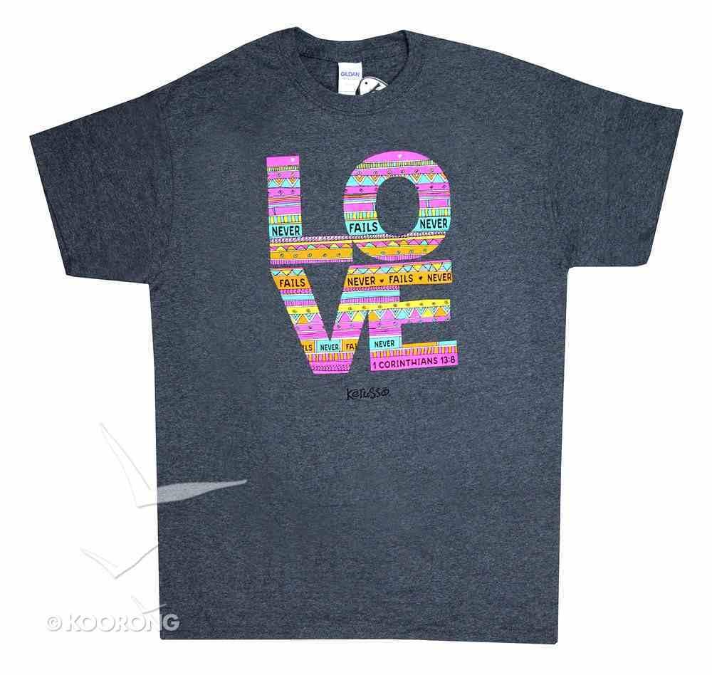Women's T-Shirt: Love Doodle Large Multicolors (1 Cor 13:8) Soft Goods