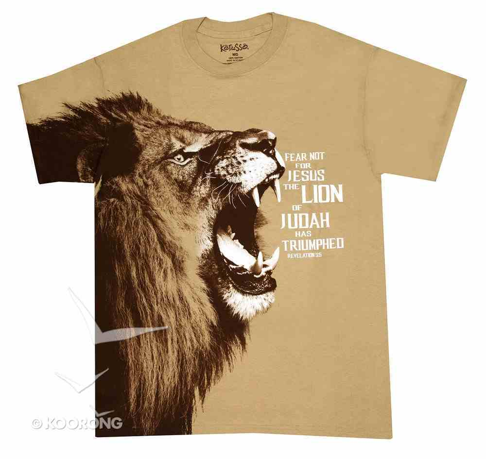 T-Shirt Fear Not: Lion Small Brown (Rev 5:5) Soft Goods