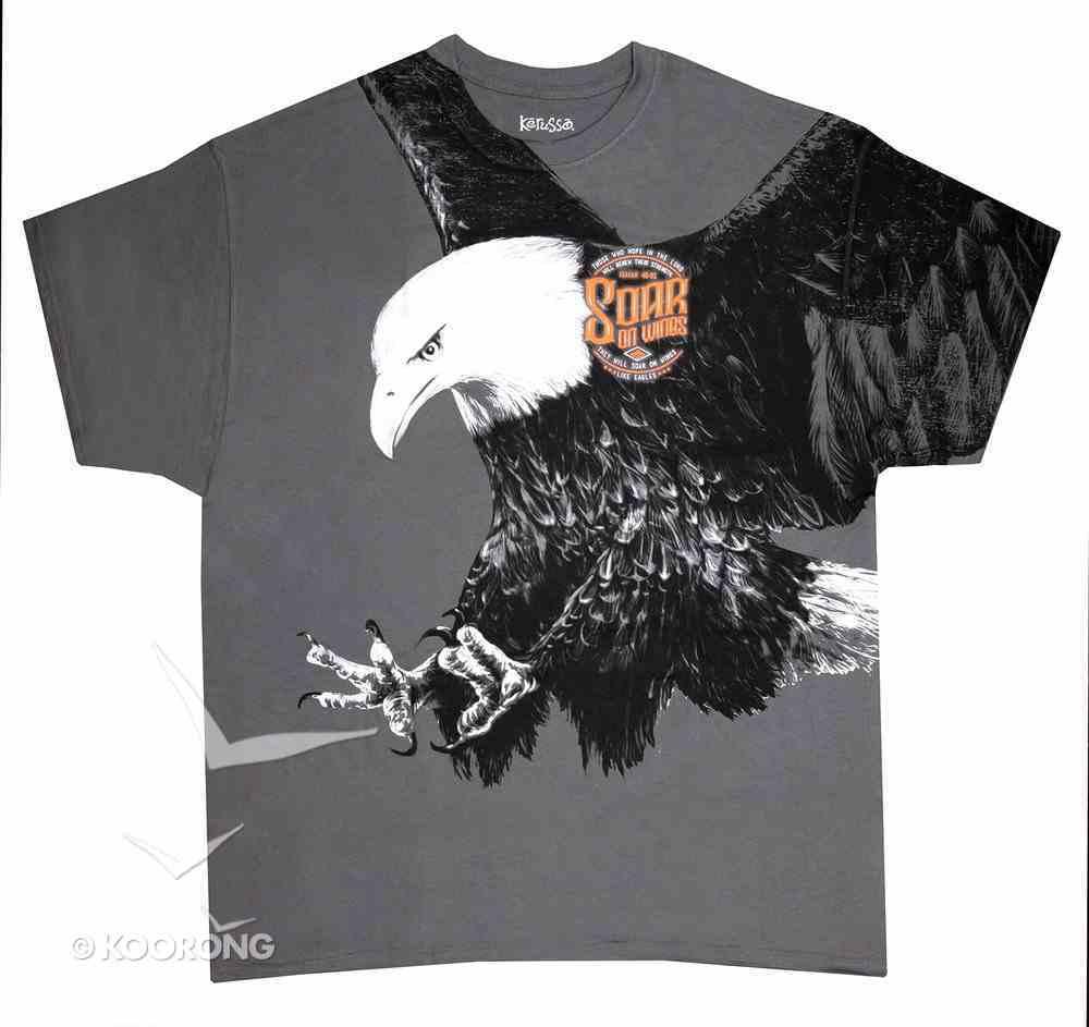 T-Shirt Eagle: Large Grey (Isaiah 40:31) Soft Goods