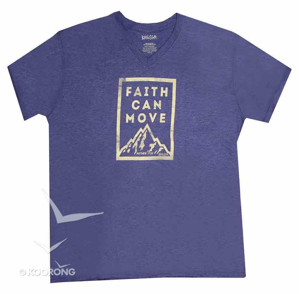 Men's V-Neck T-Shirt: Faith Can Move.. Medium Blue (Matthew 17:20) Soft Goods