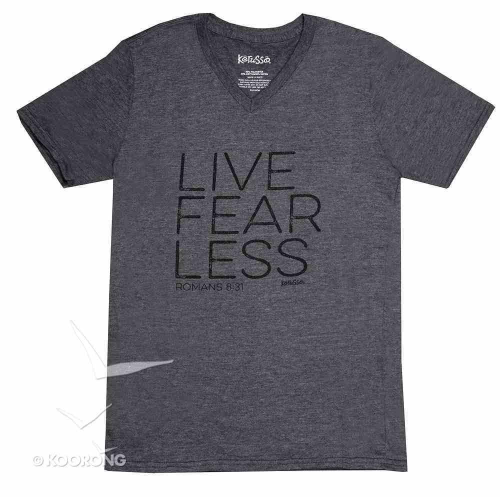 Men's V-Neck T-Shirt: Live Fear Less Small Grey (Romans 8:31) Soft Goods