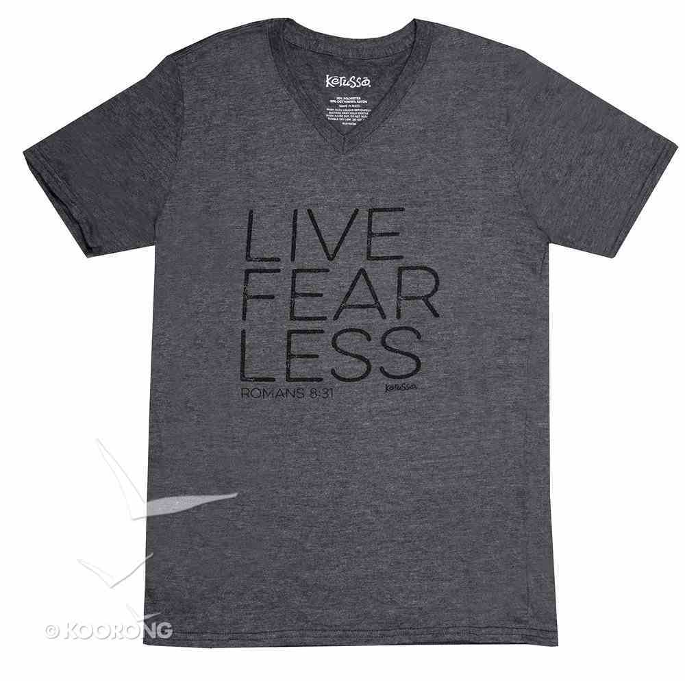 Men's V-Neck T-Shirt: Live Fear Less Xlarge Grey (Romans 8:31) Soft Goods
