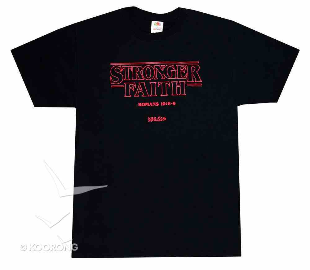 T-Shirt Stronger Faith: 2xlarge Black/Red (Romans 10 6-9) Soft Goods
