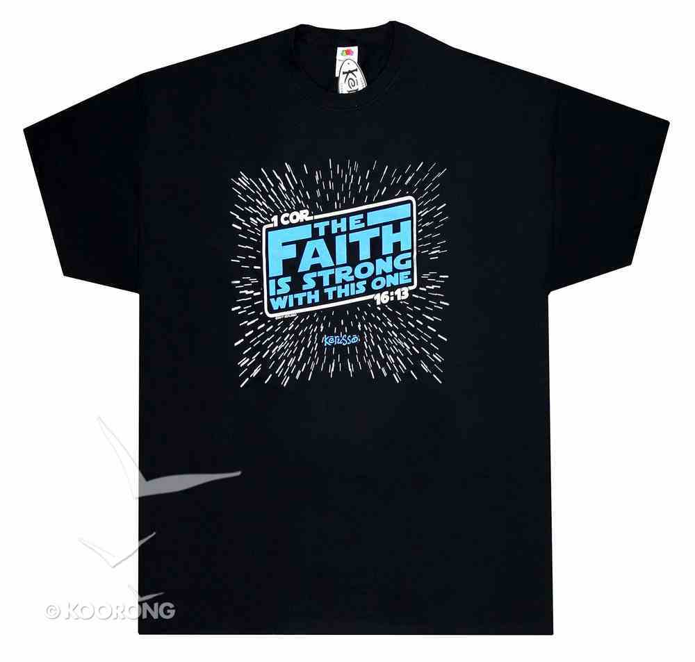 T-Shirt the Faith is Strong....Medium Black/Blue (1 Cor 16: 13) Soft Goods