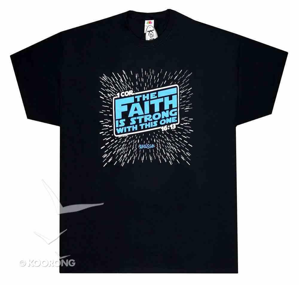 T-Shirt the Faith is Strong....Xlarge Black/Blue (1 Cor 16: 13) Soft Goods