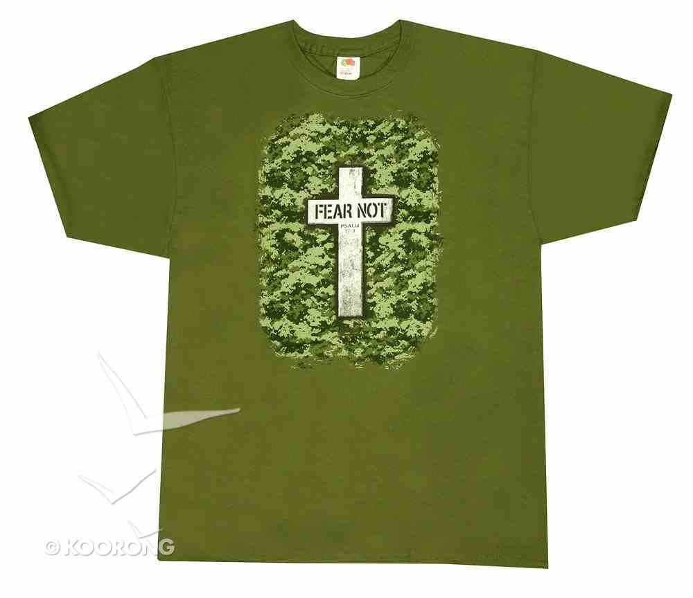 T-Shirt Military Cross: Small Khaki/Silver/Black (Psalm 27:3) Soft Goods