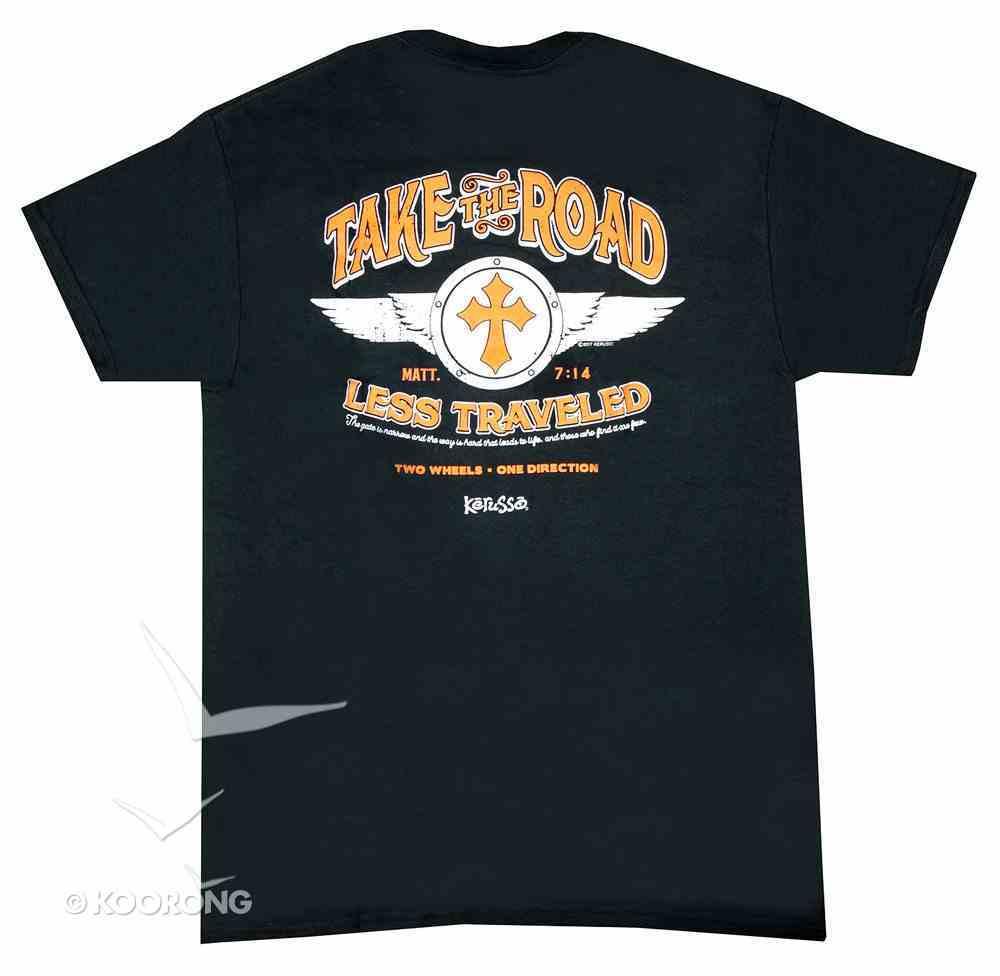 Men's T-Shirt: Two Wheels One Direction Medium Black/Red/White (Matt 7:14) Soft Goods
