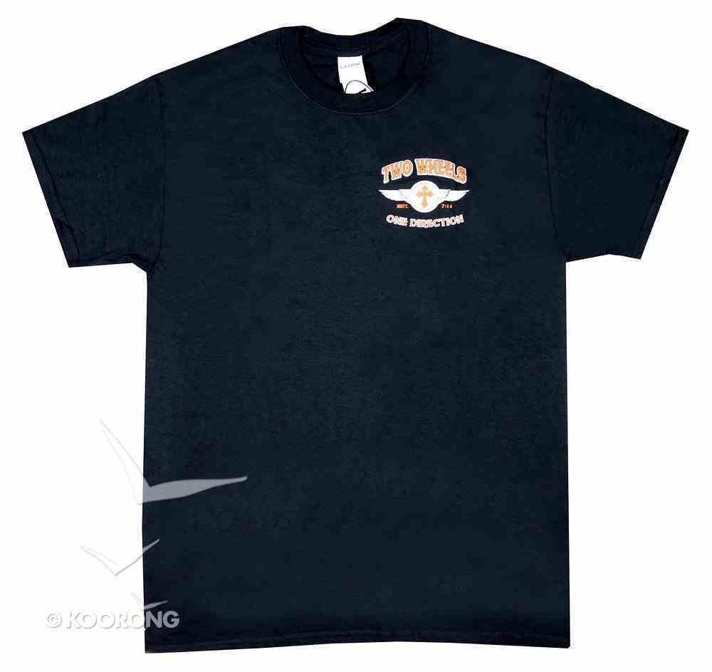 Men's T-Shirt: Two Wheels One Direction Large Black/Red/White (Matt 7:14) Soft Goods