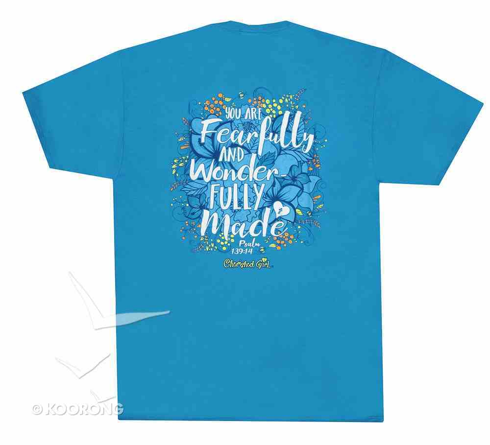 Cherished Girl Women's T-Shirt: Fearfully & Wonderfully Made Medium Blue/Floral (Psalm 139:14) Soft Goods