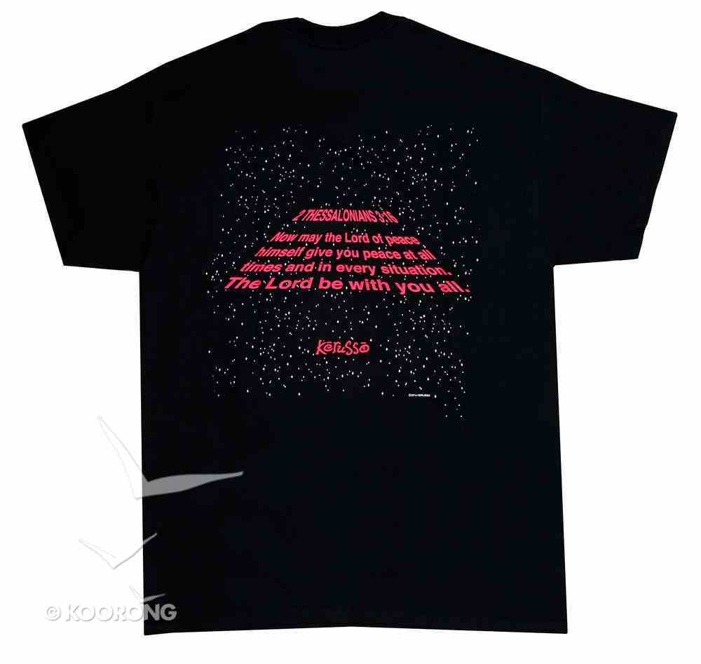 Men's T-Shirt: May the Lord Large Black/Red (2 Thess 3:16) Soft Goods