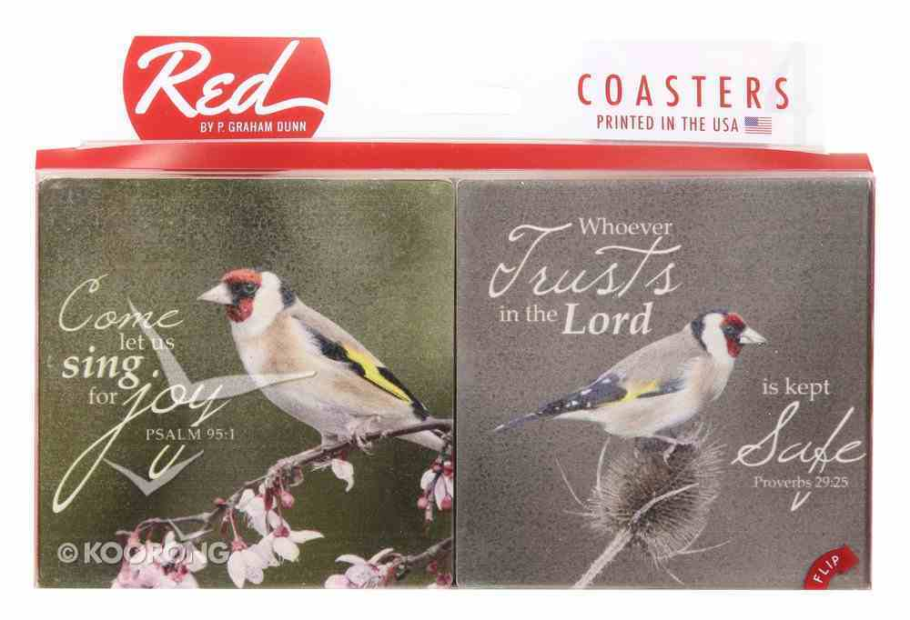 Absorbent Ceramic Coaster Set of 4: Birds Sitting on Branches, Various Scripture Verses Homeware