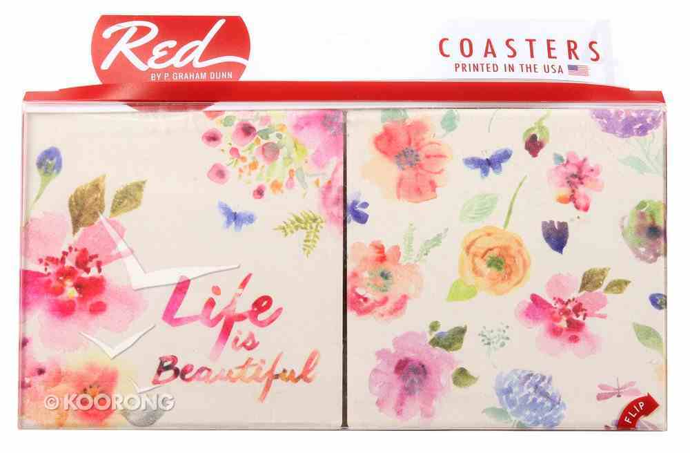 Absorbent Ceramic Coaster Set of 4: Life is Beautiful, Floral Homeware