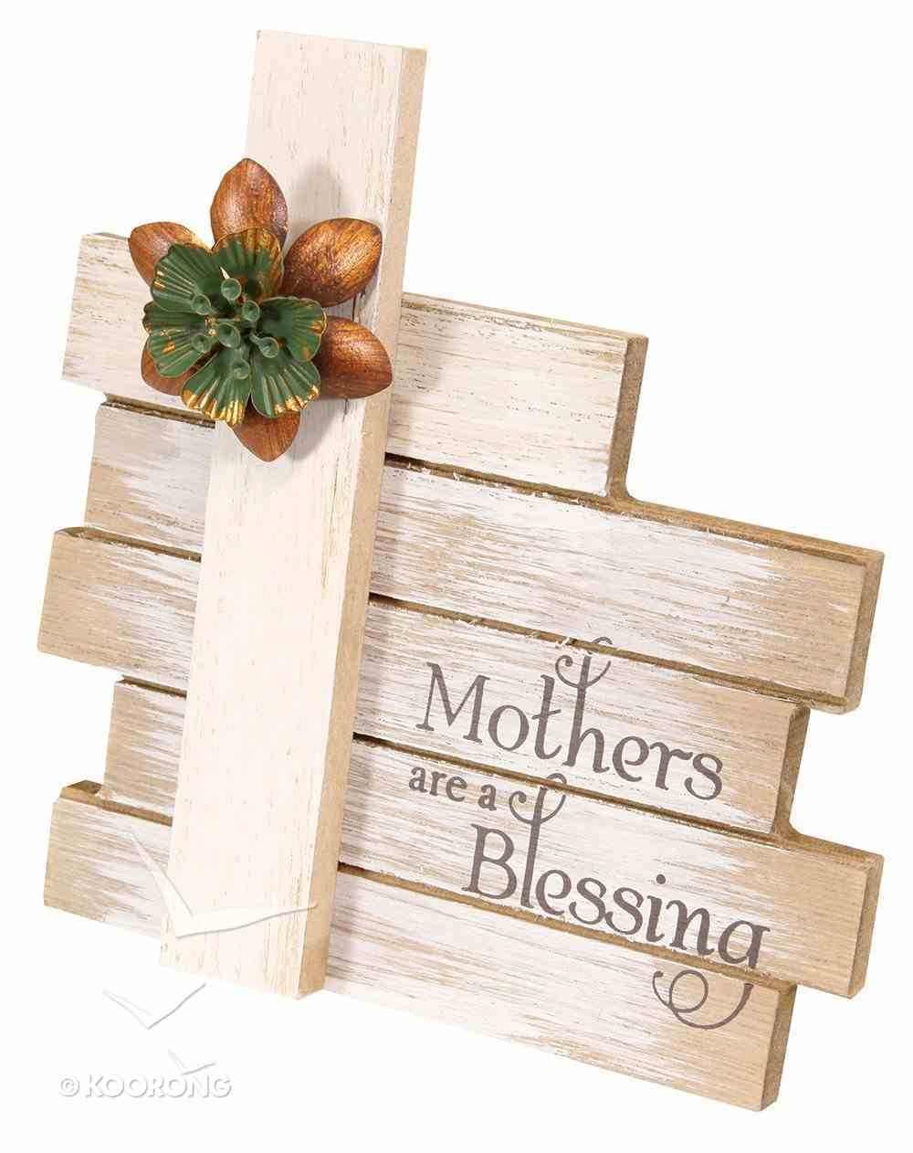Cross Plaque Simple Spirits: Mother, Cream Cross With Flowers Homeware