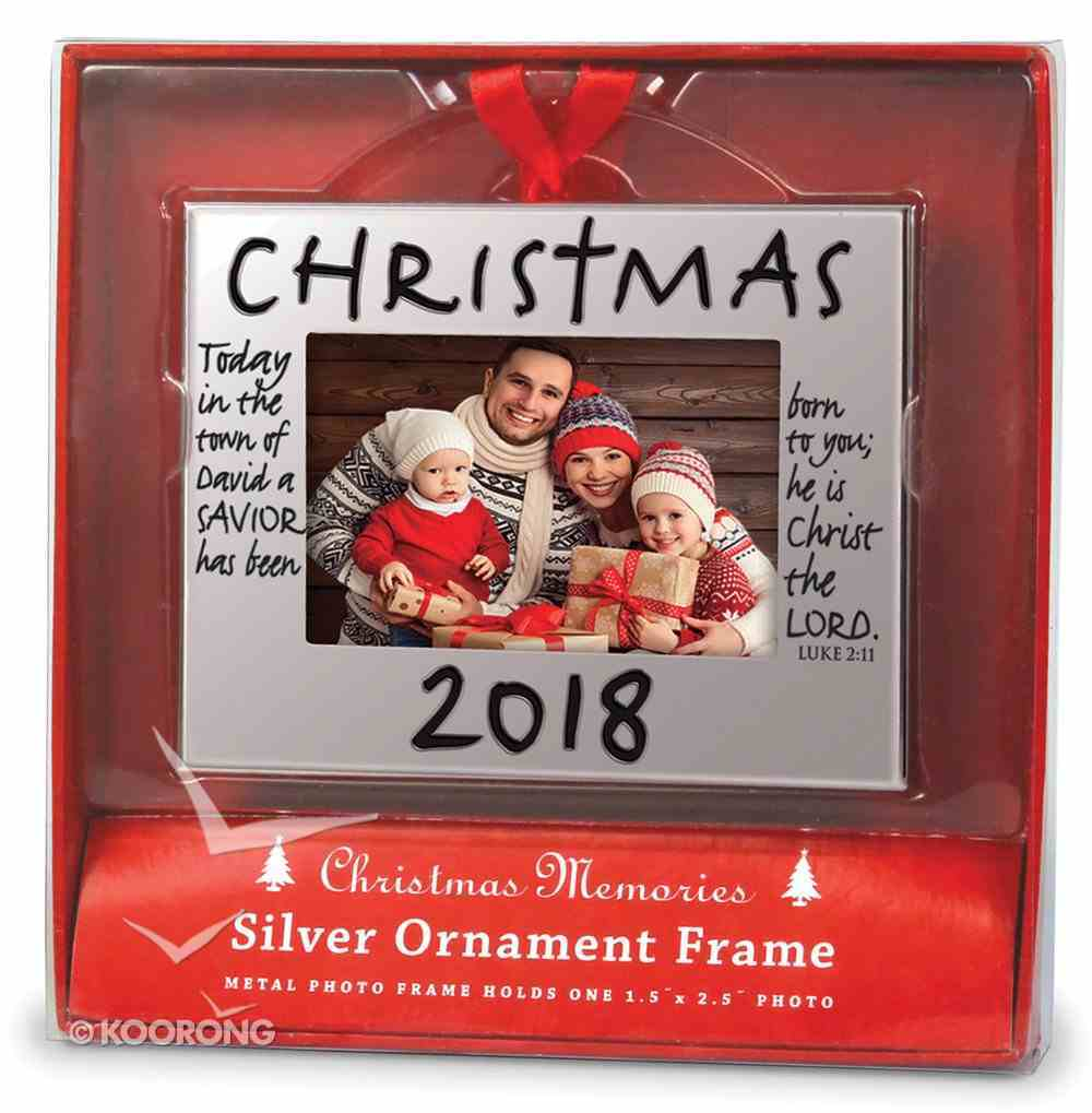 Christmas Ornament Frame: Christmas 2018, Silver With Red Ribbon Bow (Luke 2:11) Homeware