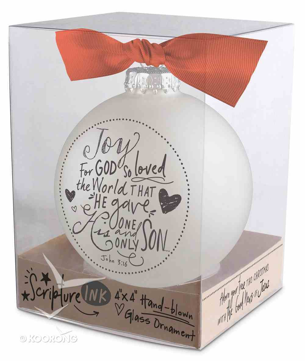 Christmas Glass Bauble Ornament Scripture Ink: Joy, Silver Solid Glass/Non Transparent/Red Ribbon Bow (John 3:16) Homeware