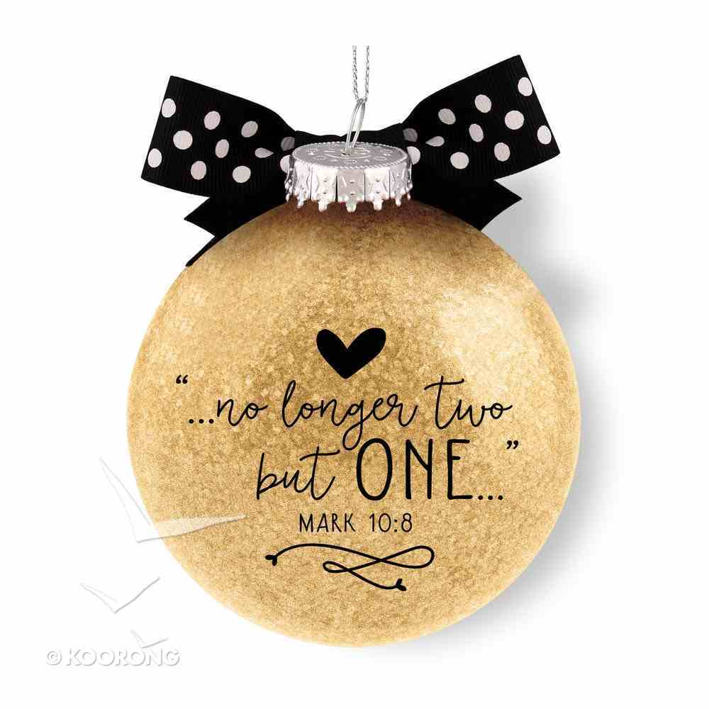 Christmas Glass Ornament Special Moments: Our First Christmas as Mr & Mrs, Cream With Black/White Spotted Bow (Mark 10:8) Homeware