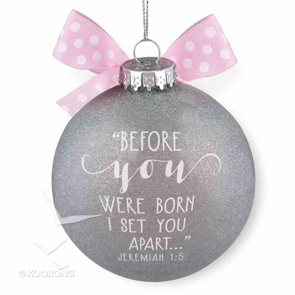 Christmas Glass Ornament Special Moments: Baby's First Christmas, Pink (Jeremiah 1:5) Homeware