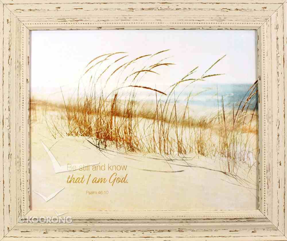 'Outlooks' Framed Art: Be Still and Know That I Am God, Sand/Beach (Psalm 46:10) Plaque