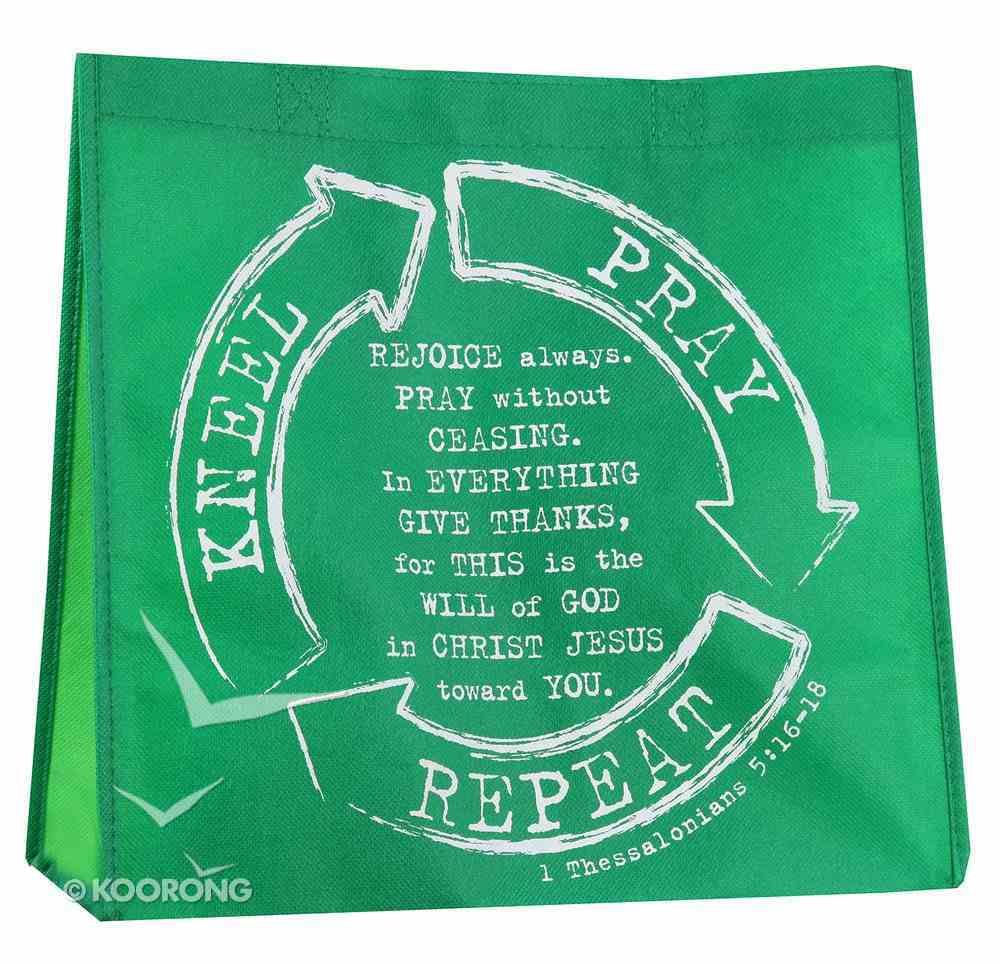 Reusable Shopping Bag: Kneel, Pray, Repeat (Green With Light Green Sides) Soft Goods