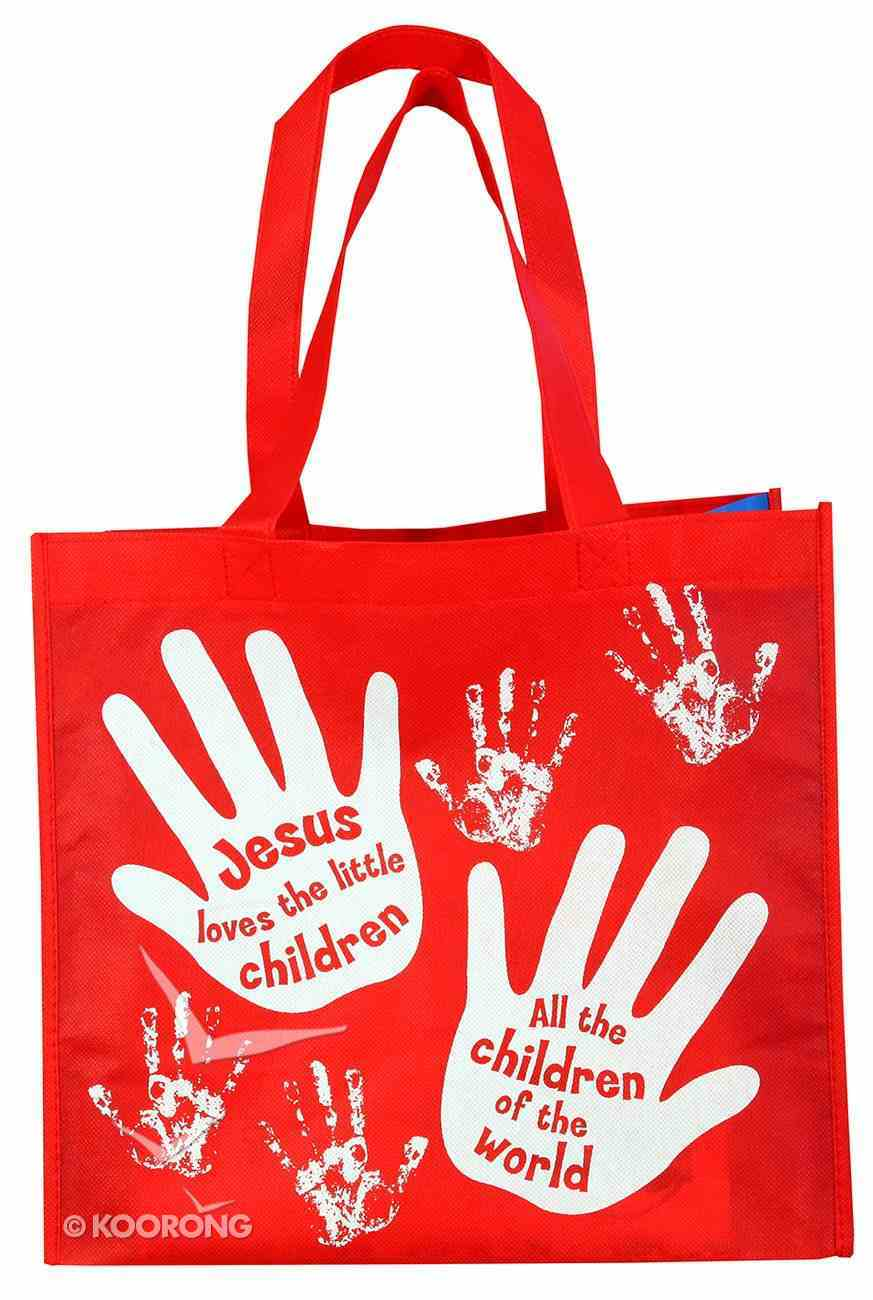 Reusable Shopping Bag: Jesus Loves the Little Children (Red With Blue Sides) Soft Goods
