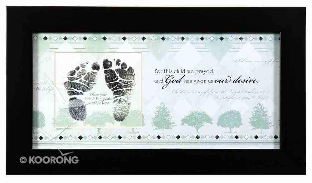 Framed Art Print: For This Child I Prayed - Photo Or Footprint, Blue/Boy Plaque
