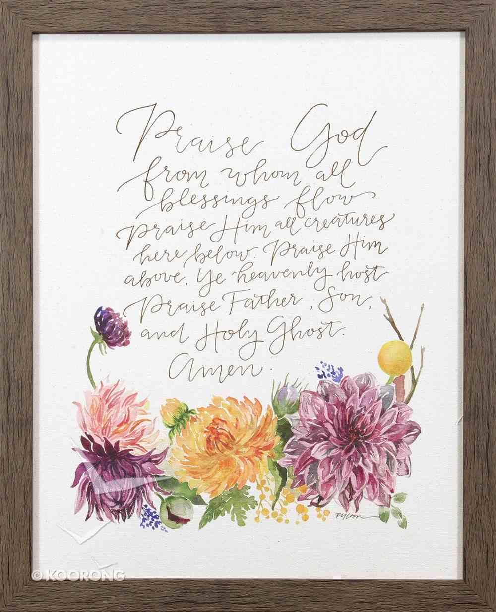 Gracelaced Doxology: Framed Natural Canvas, Coloured Floral Arrangement Under Doxology Plaque