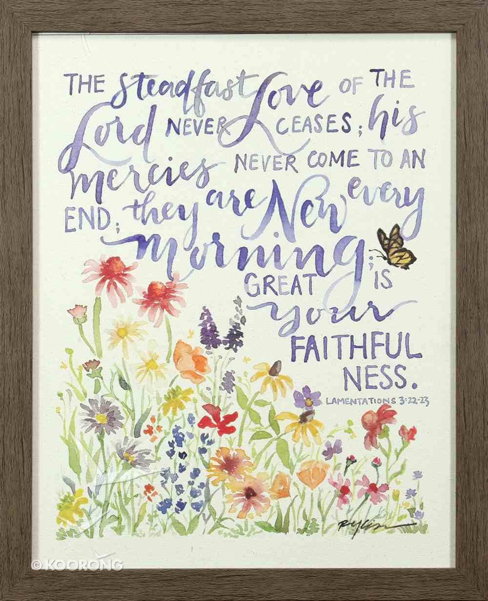 Gracelaced Steadfast Love: Framed Natural Canvas, Coloured Floral Garden Under Scripture (Lam 3:22-23) Plaque