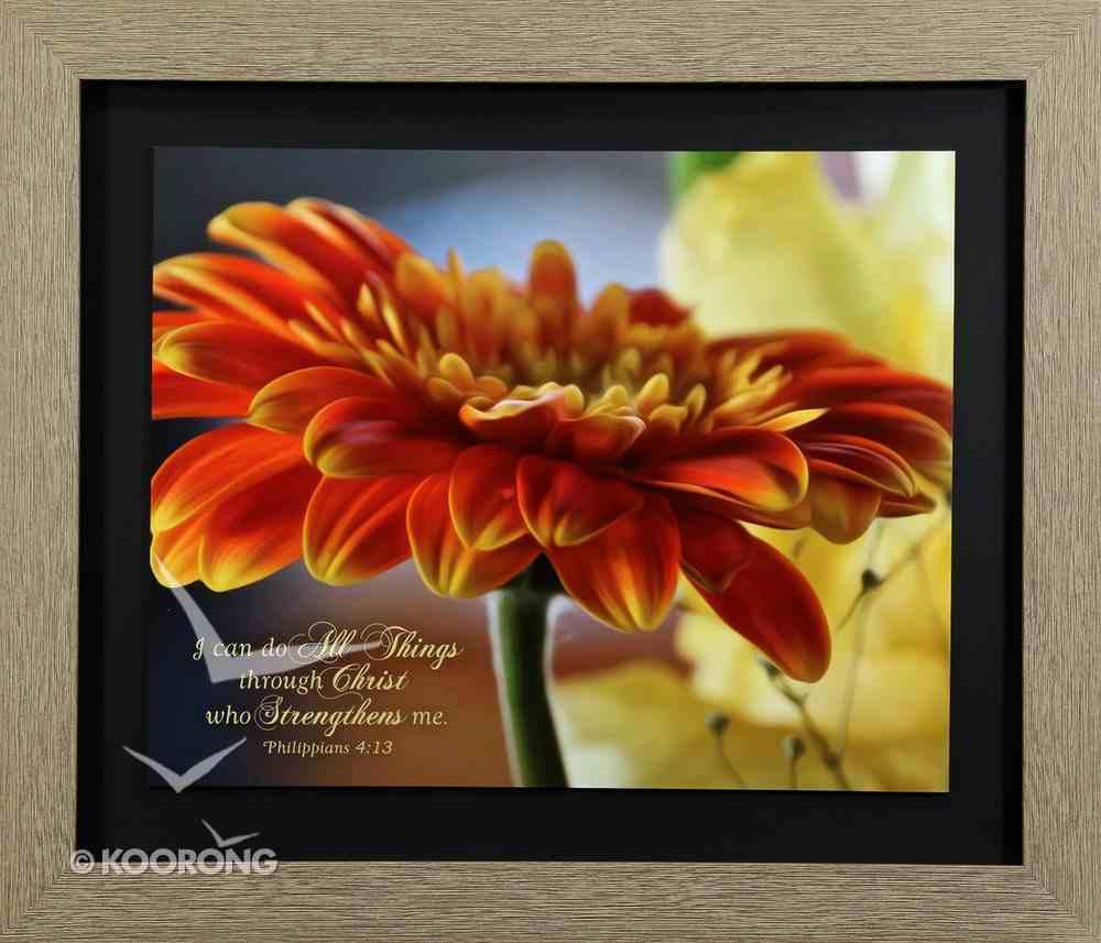 Framed Art Print: I Can Do All Things Through Christ, Orange Geranium (Phil 4:13) Plaque
