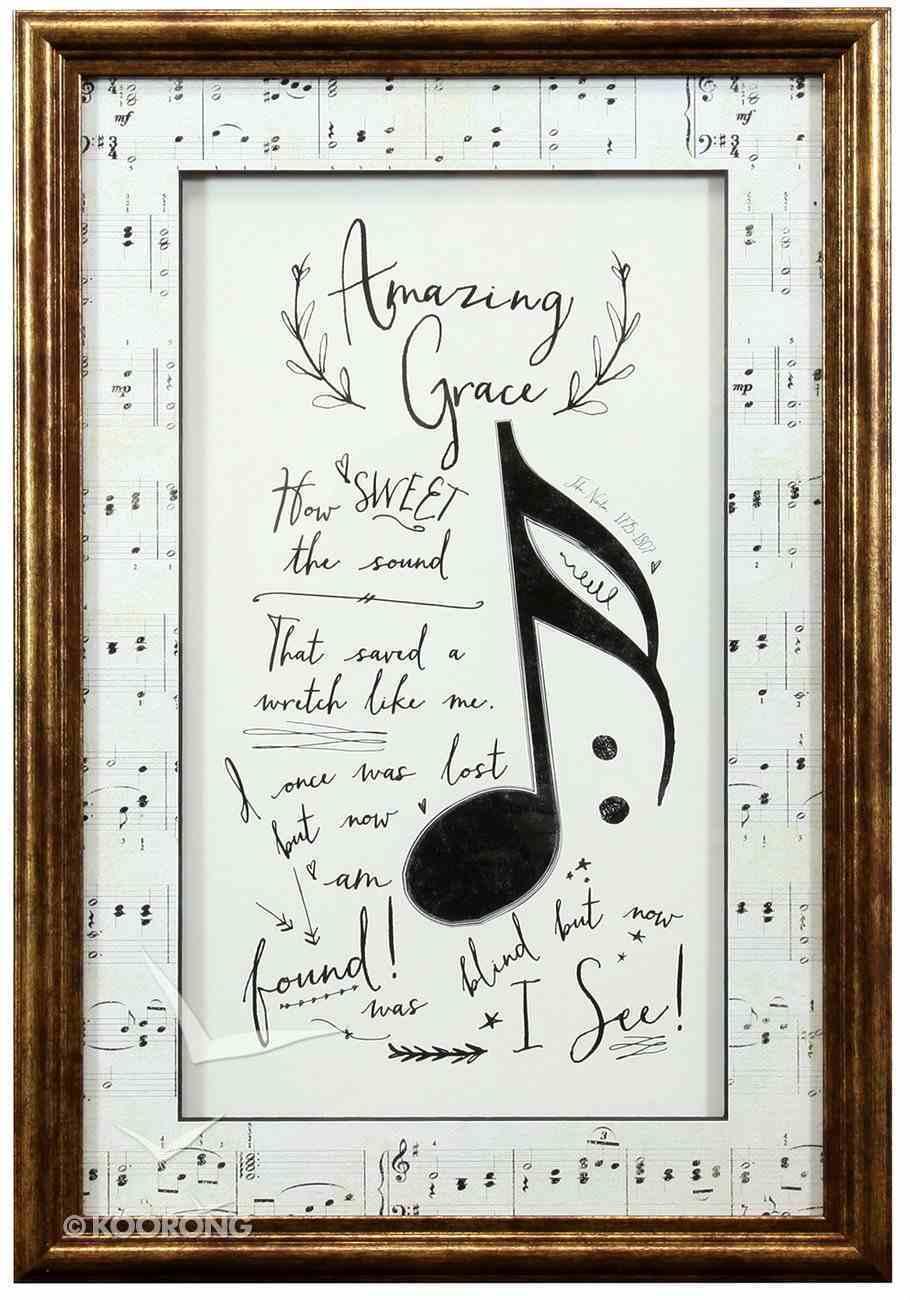 Framed Art Print: Amazing Grace Music Notes Plaque
