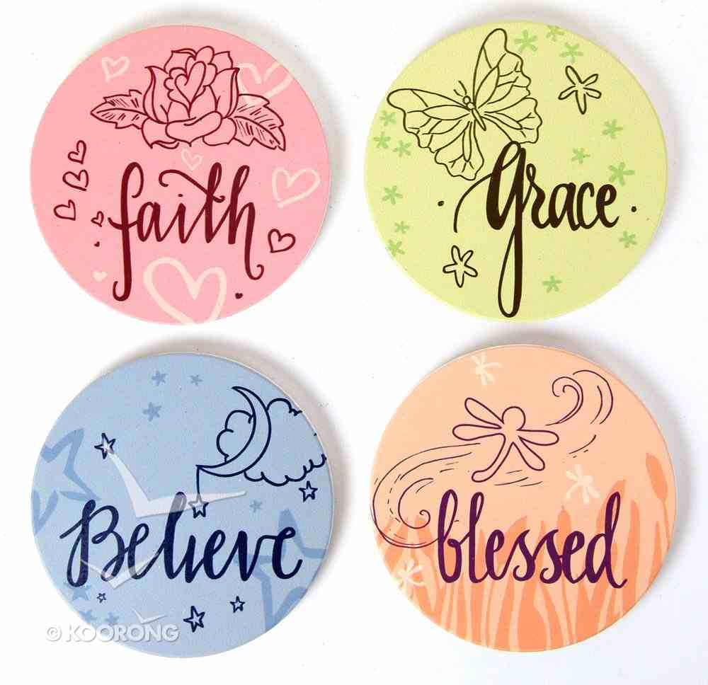 Absorbent Ceramic Coaster Set of 4: Nature's Grace - Believe; Faith; Grace; Blessed Homeware