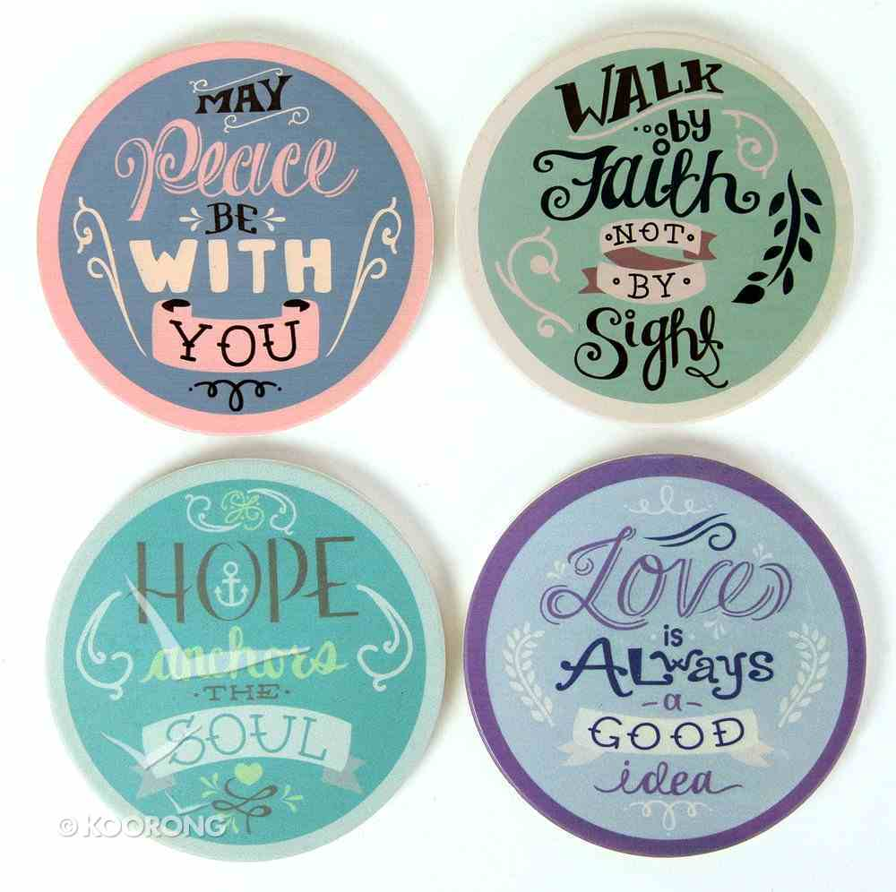 Absorbent Ceramic Coaster Set of 4: Rachel Anne Assortment - Hope Anchors the Soul; Walk By Faith Not By Sight; Love is Always a Good Idea; May Peace Be With You Homeware