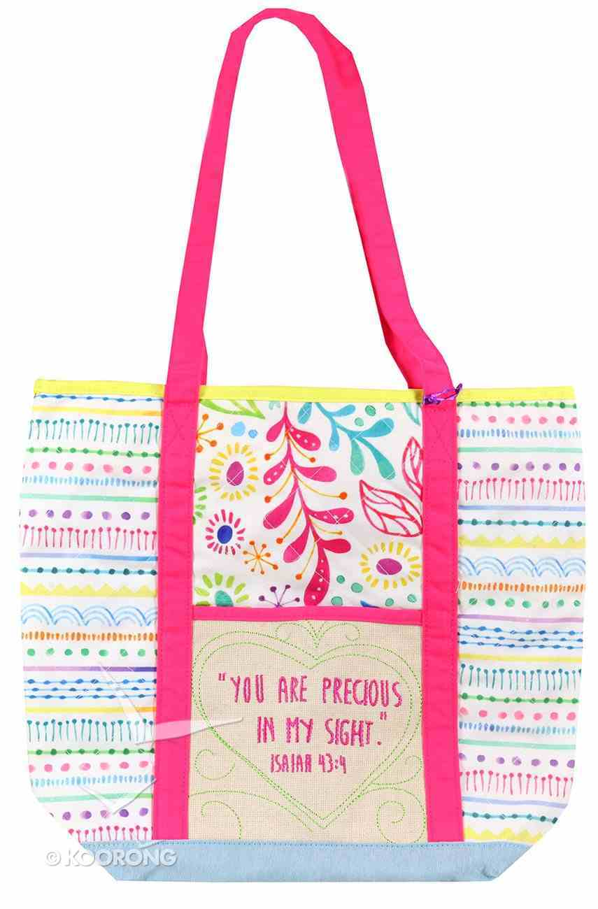 Let Your Light Shine Tote Bag: Precious Quilted, White/Pale Blue/Pink Handles Soft Goods