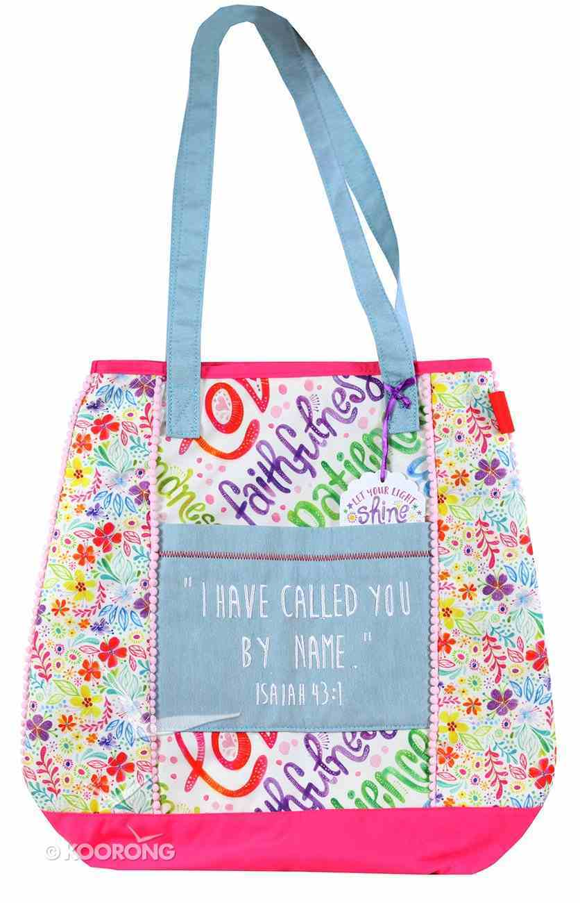 Let Your Light Shine Tote Bag: Called Quilted, White/Pink/Pale Blue Handles Soft Goods